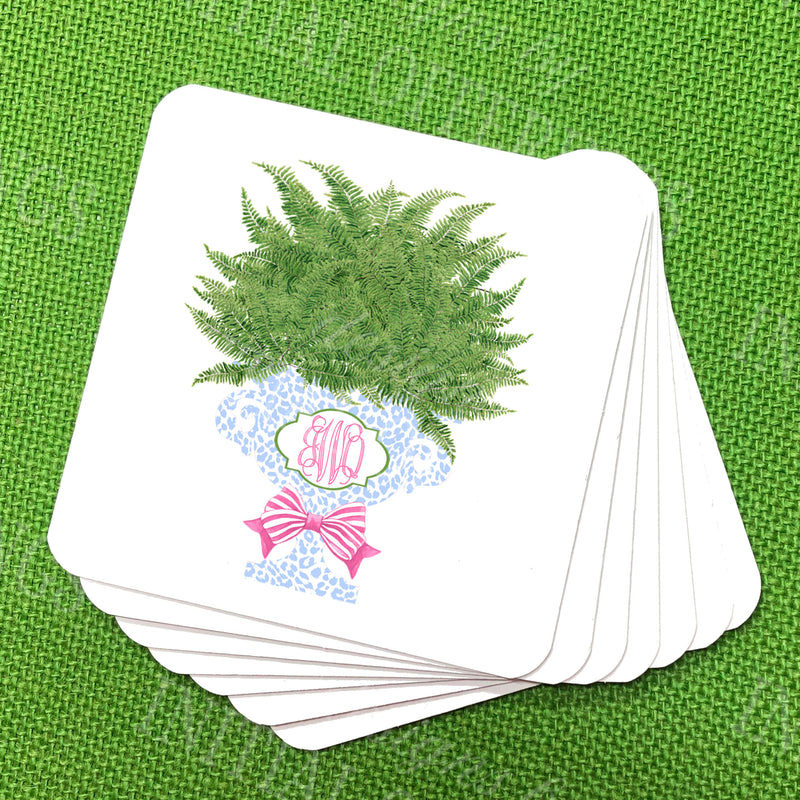 Fern in Light Blue Cheetah Planter Coasters