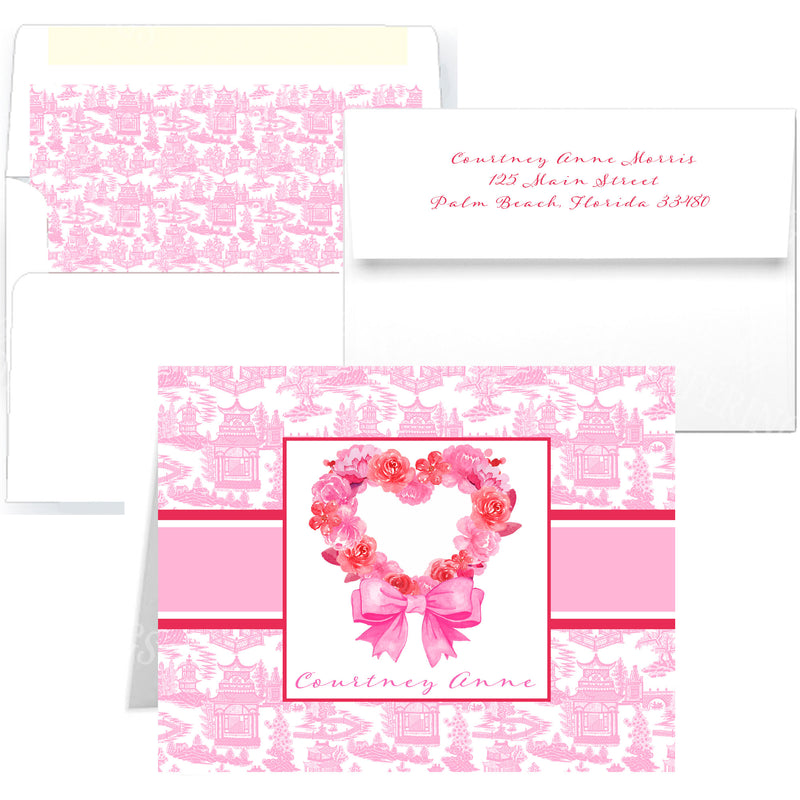 Pink Floral Heart Notecards