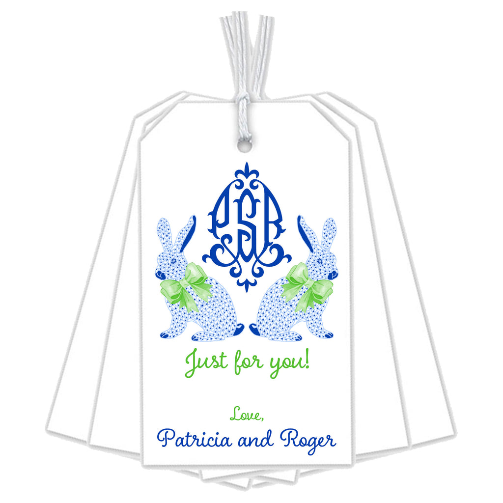 Blue Bunnies Gift Tags with Monogram