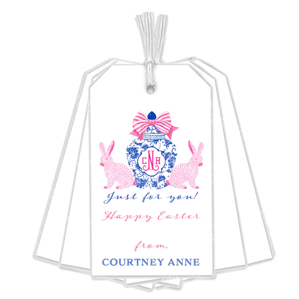 Bunnies with Ginger Jar Pink Gift Tags