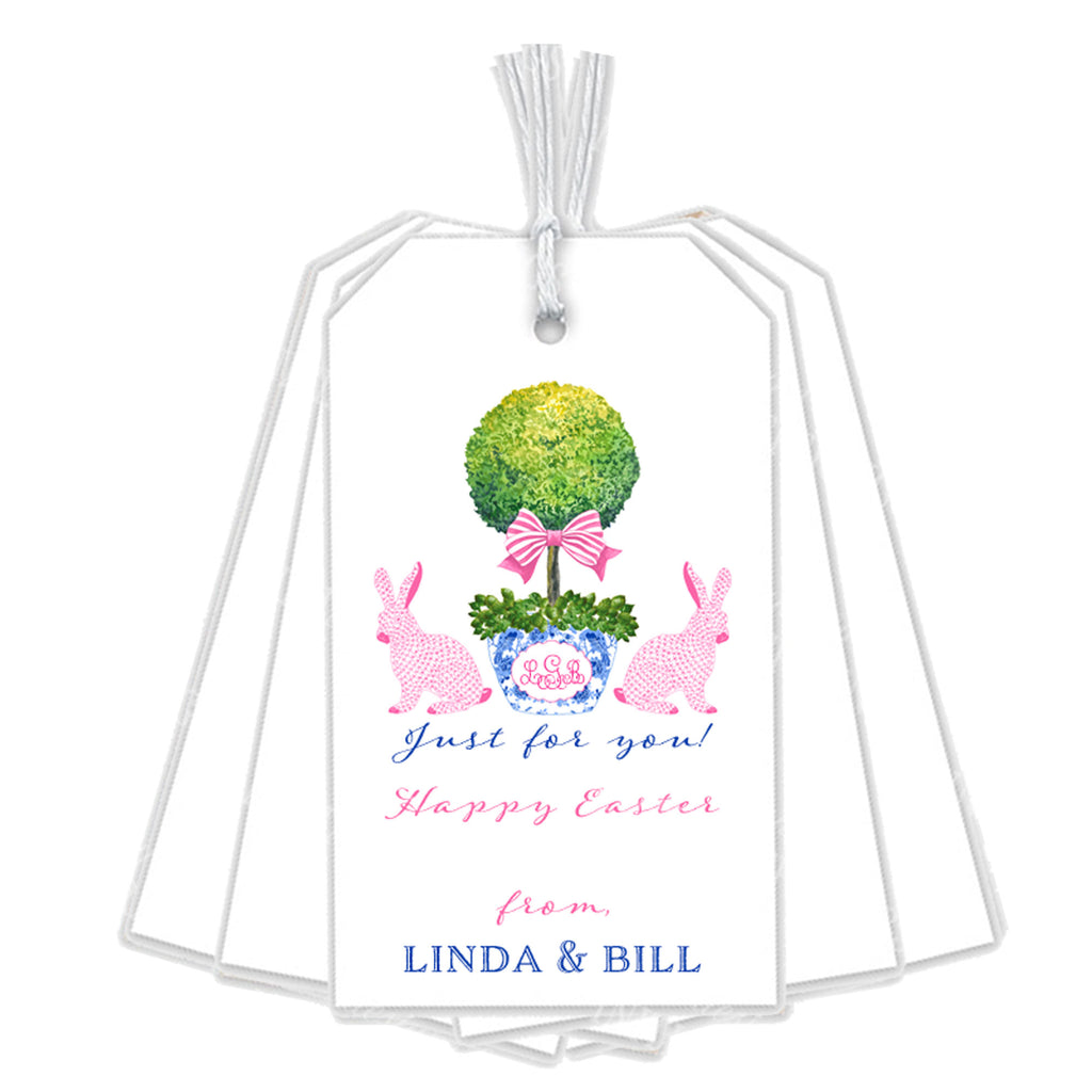 Bunnies with Topiary Gift Tags