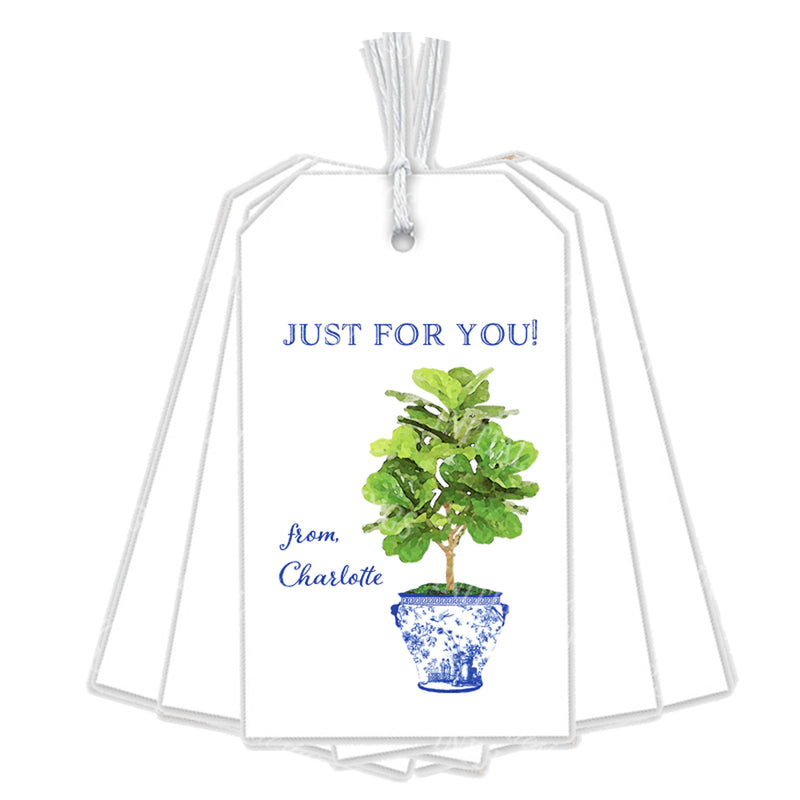 Fiddle Leaf Fig Tree in Blue Planter Gift Tags