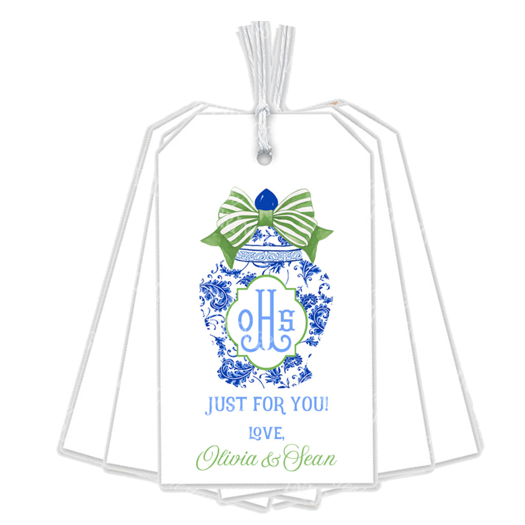 Ginger Jar with Green Bow Gift Tags