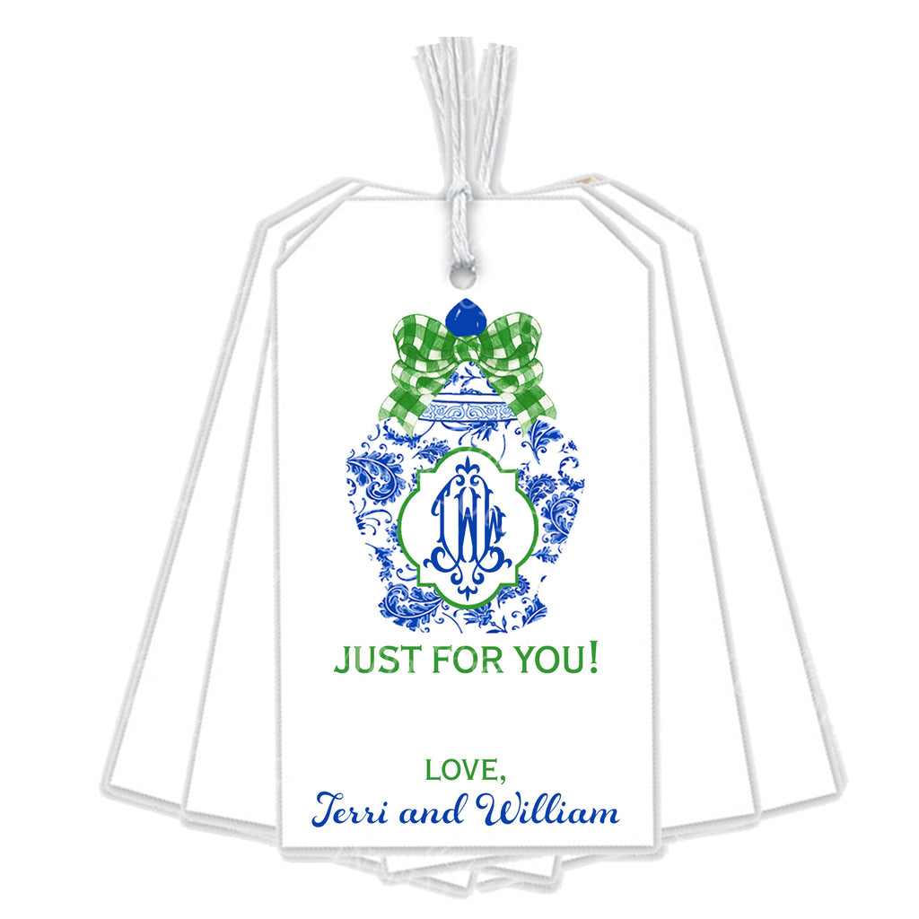 Ginger Jar with Green Gingham Bow Gift Tags