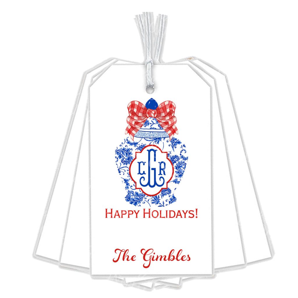 Ginger Jar with Red Gingham Bow Gift Tags