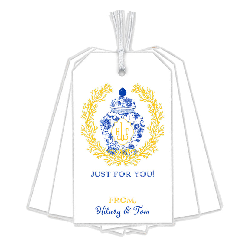 Ginger Jar Coral Wreath Blue and Yellow Gift Tags