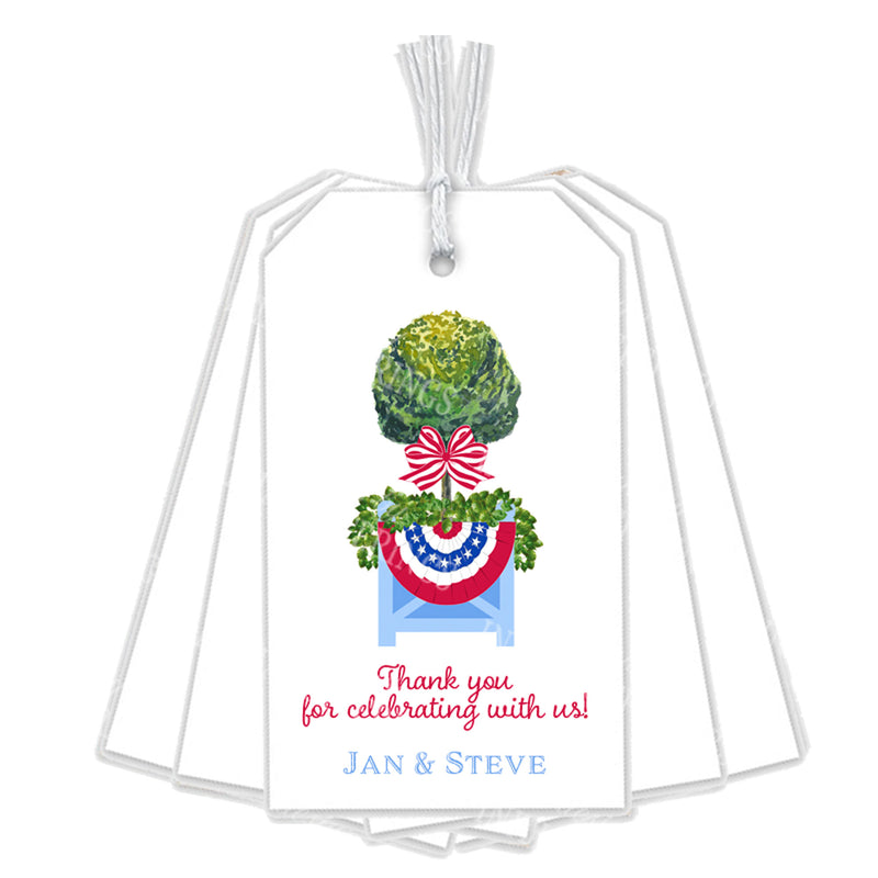 Patriotic Topiary in Planter Gift Tags