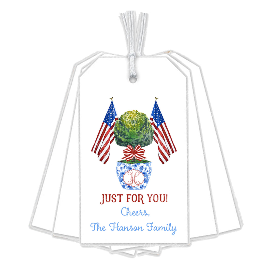 Patriotic Topiary Gift Tags