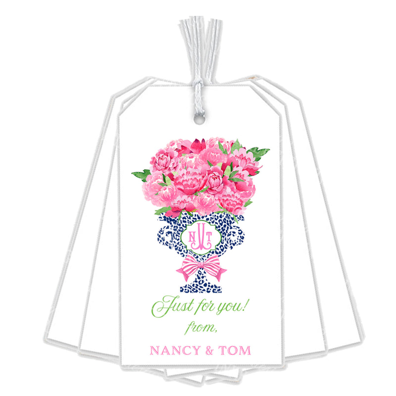 Bouquet Pink Peonies in Navy Cheetah Planter  Gift Tags