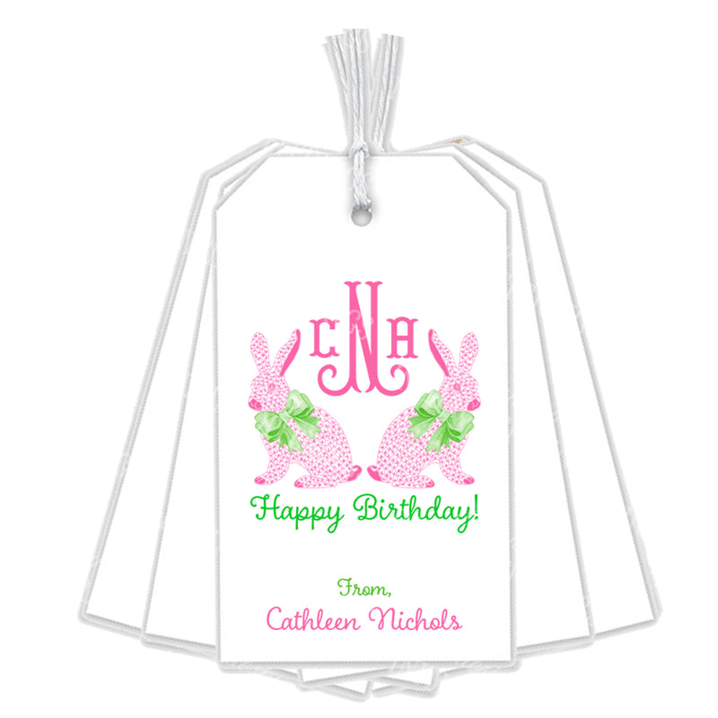 Pink Bunnies Gift Tags with Monogram