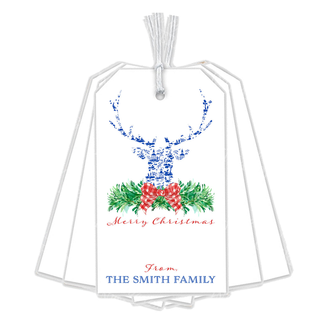 Red and Blue Pagoda Toile Stag Head Swag Gift Tags