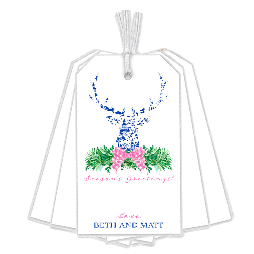 Pink and Blue Pagoda Toile Stag Head Swag Gift Tags