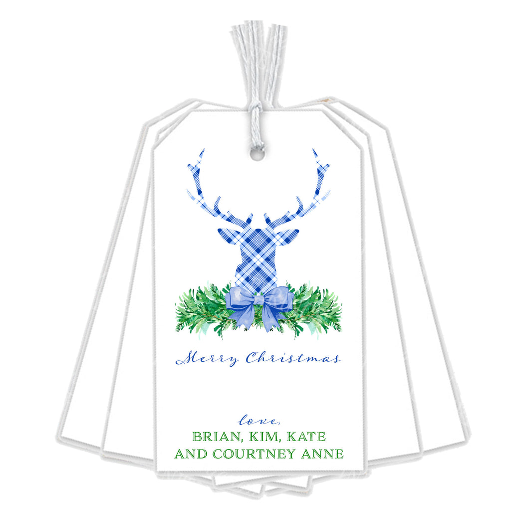 Blue and White Plaid Stag Head Swag Gift Tags