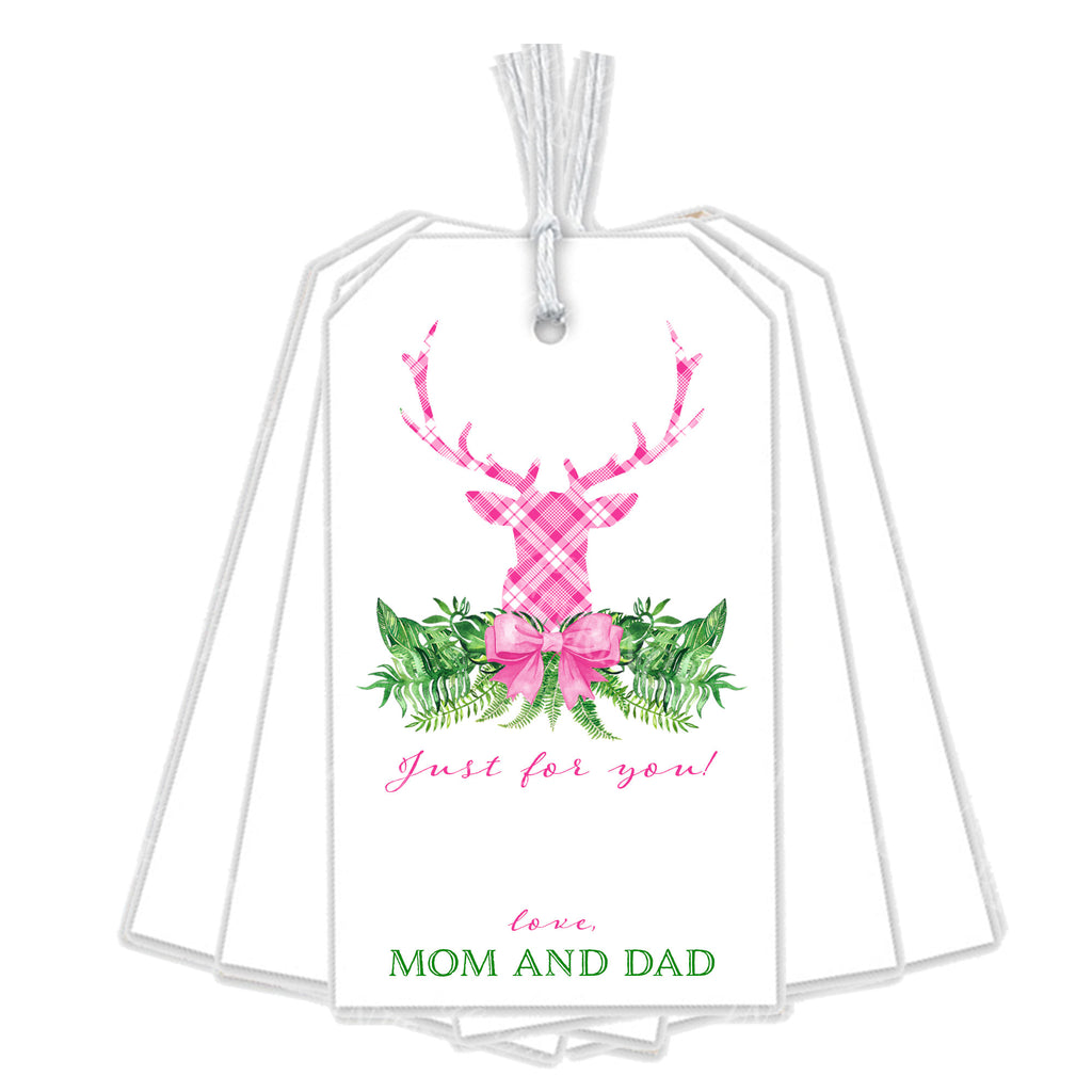 Pink and White Plaid Stag Head Swag Gift Tags