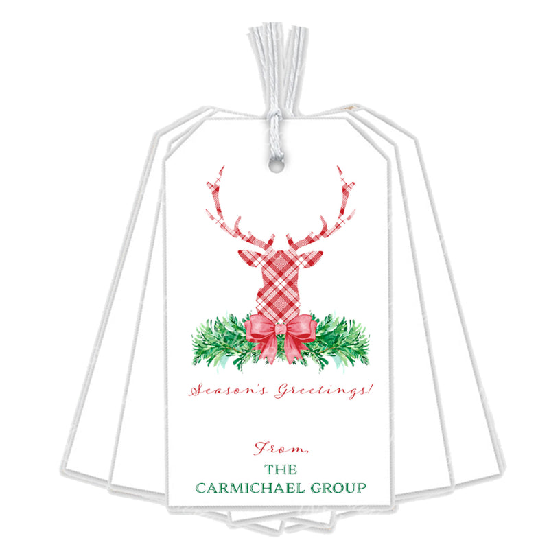 Red and White Plaid Stag Head Swag Gift Tags
