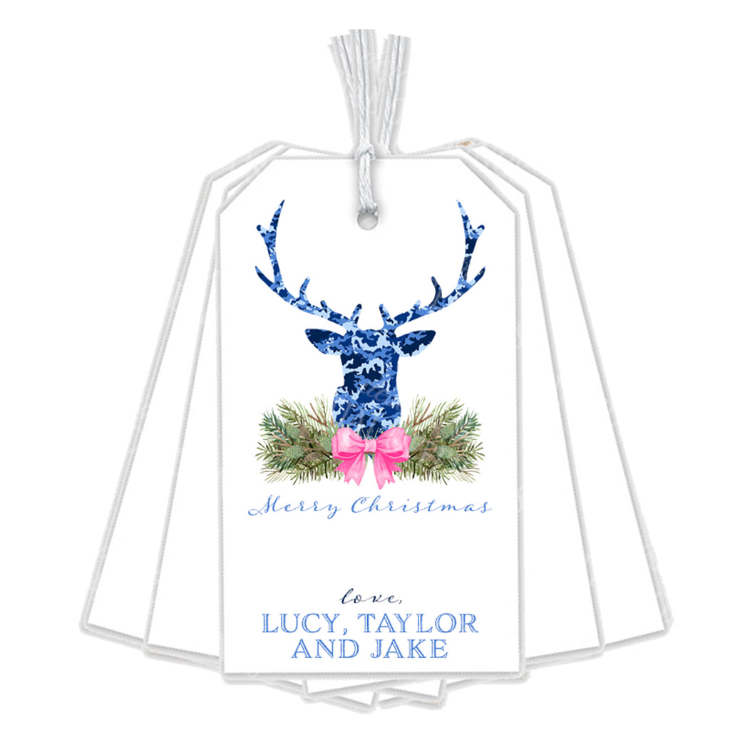 Blue Camo Stag Head Swag Gift Tags