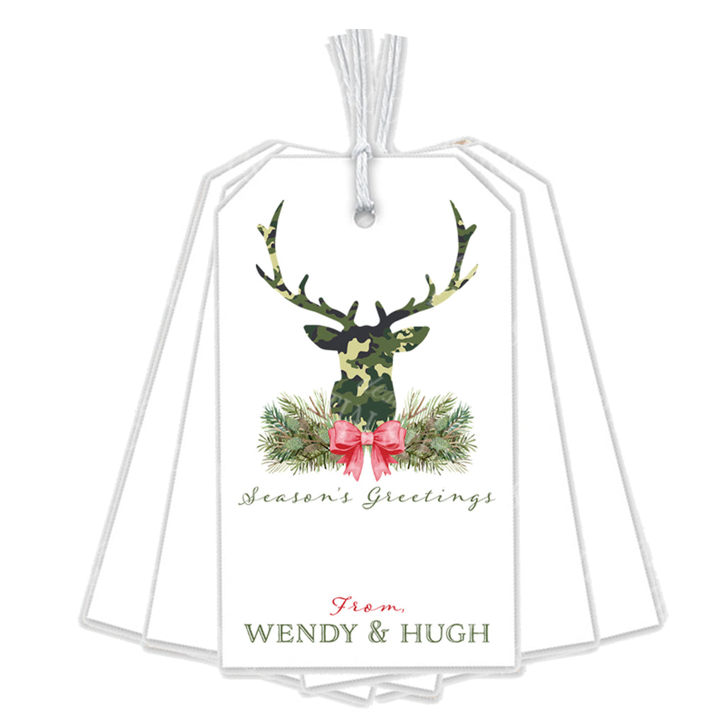 Green Camo Stag Head Swag Gift Tags