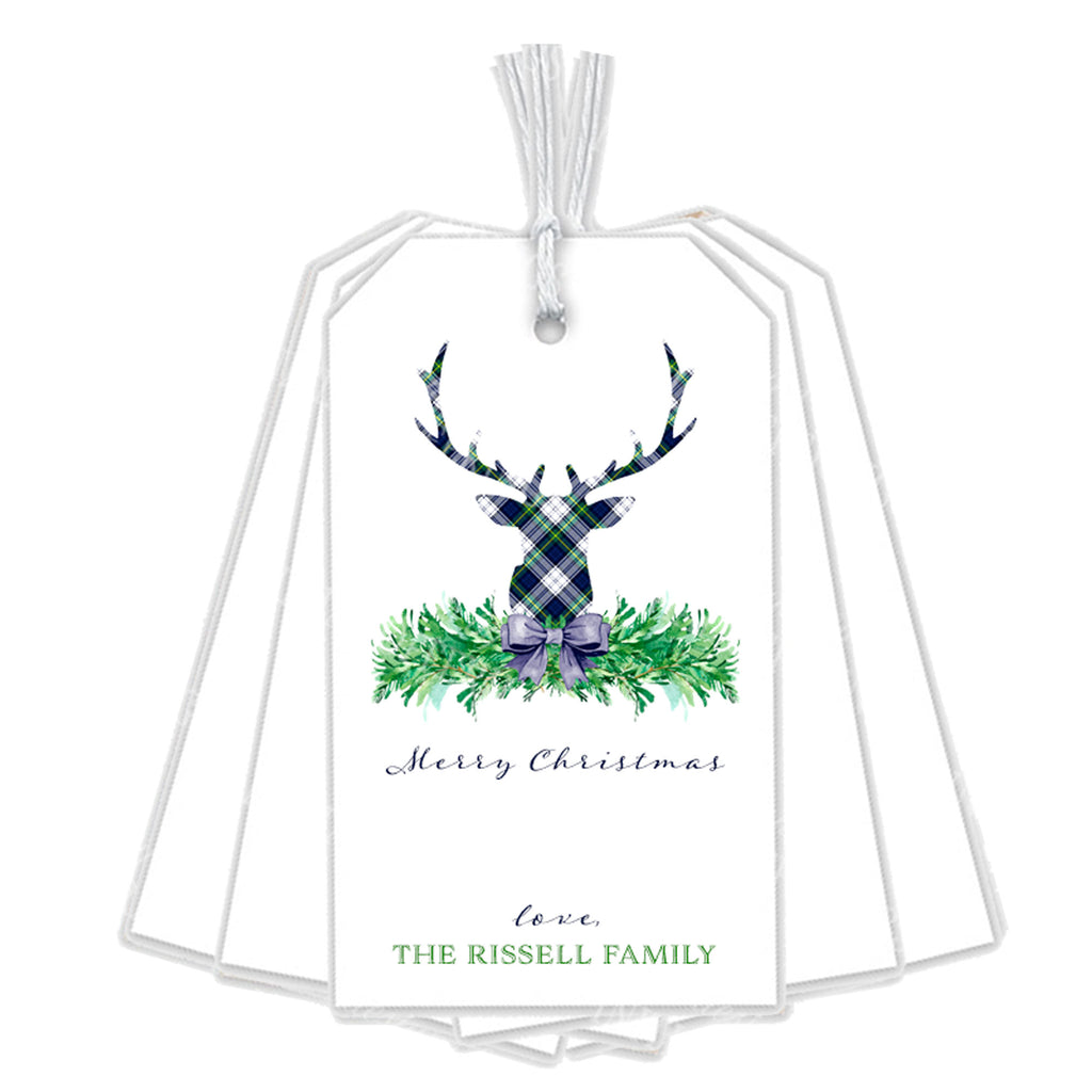 Dress Gordon Tartan Plaid Stag Head Swag Gift Tags