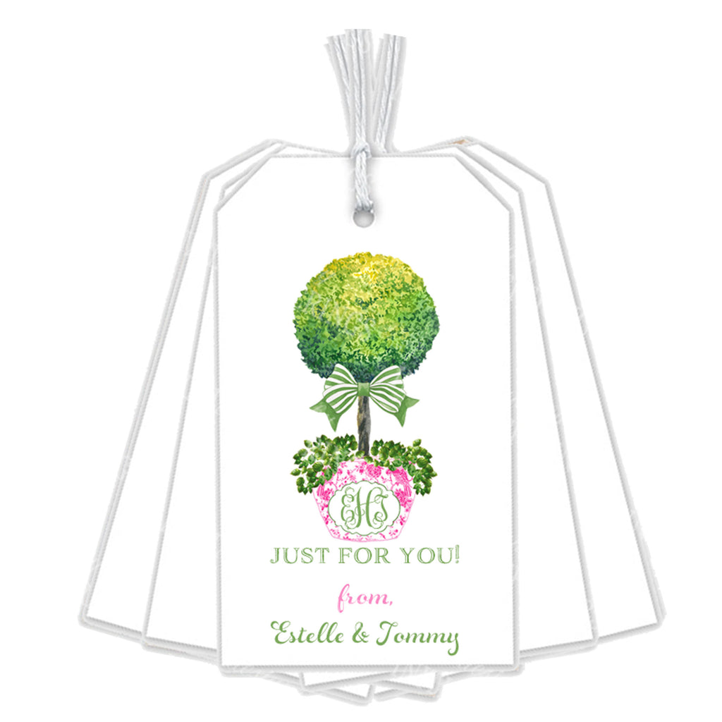 Topiary in Pink Planter with Green Bow Gift Tags