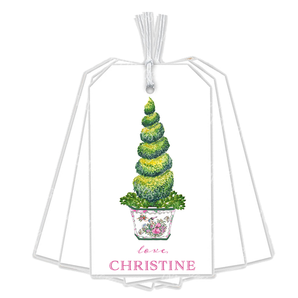 Topiary in Rose Medallion Planter Gift Tags