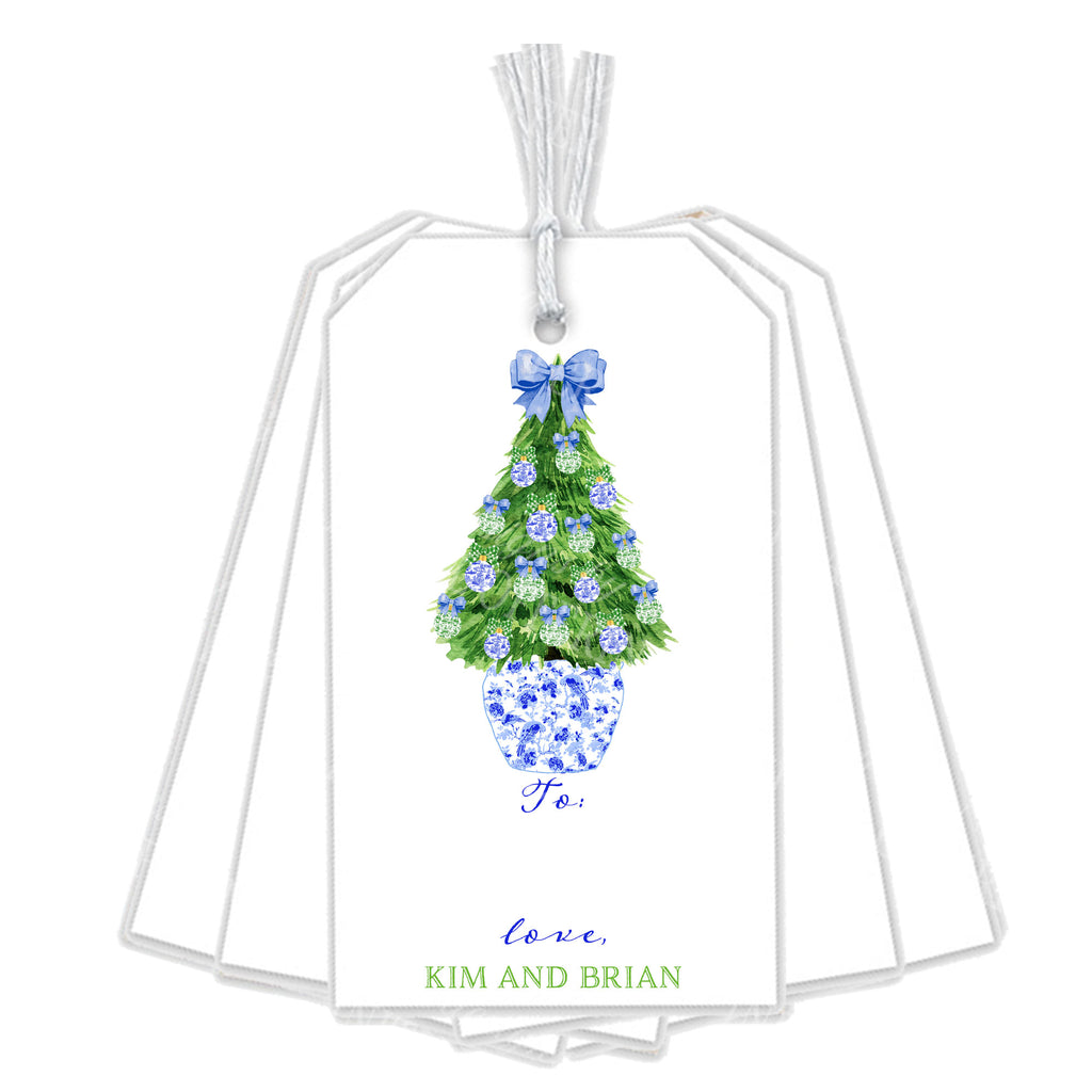 Blue and Green Christmas Tree Gift Tags