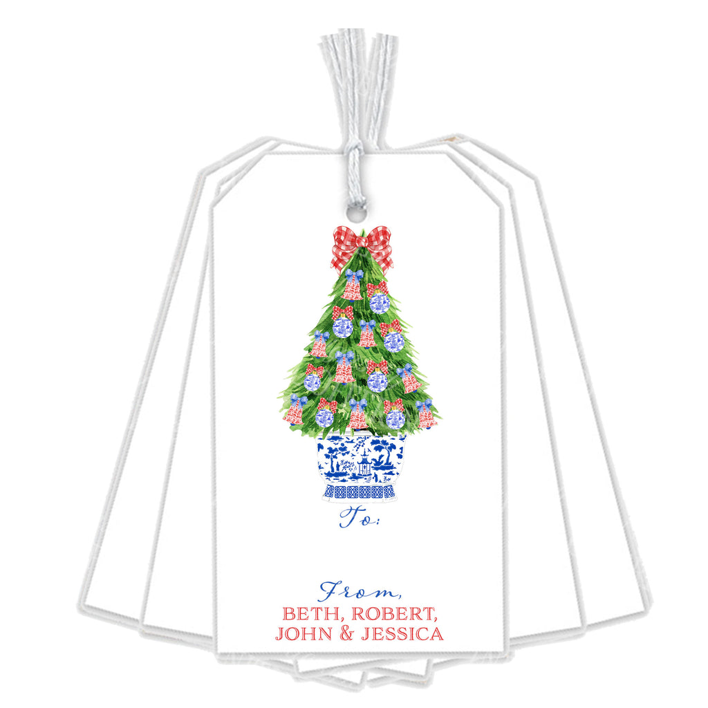 Red and Blue Christmas Tree Gift Tags