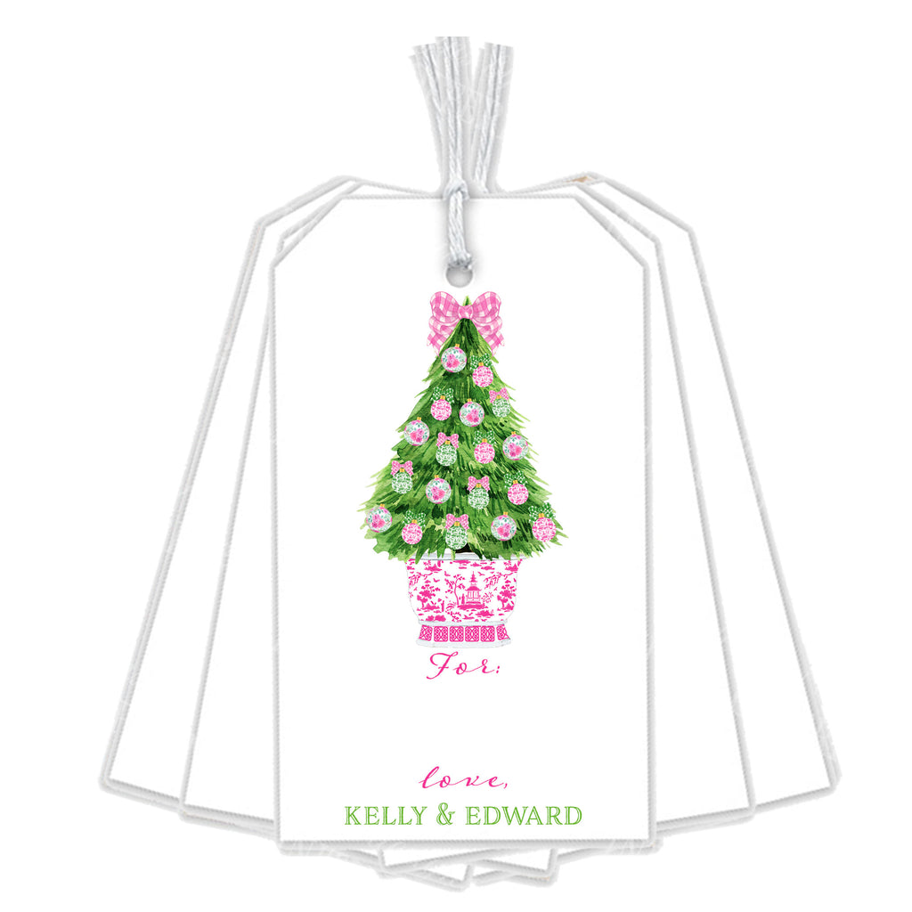 Pink and Green Christmas Tree Gift Tags