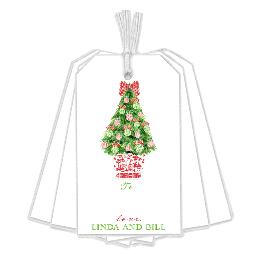 Red and Green Christmas Tree Gift Tags