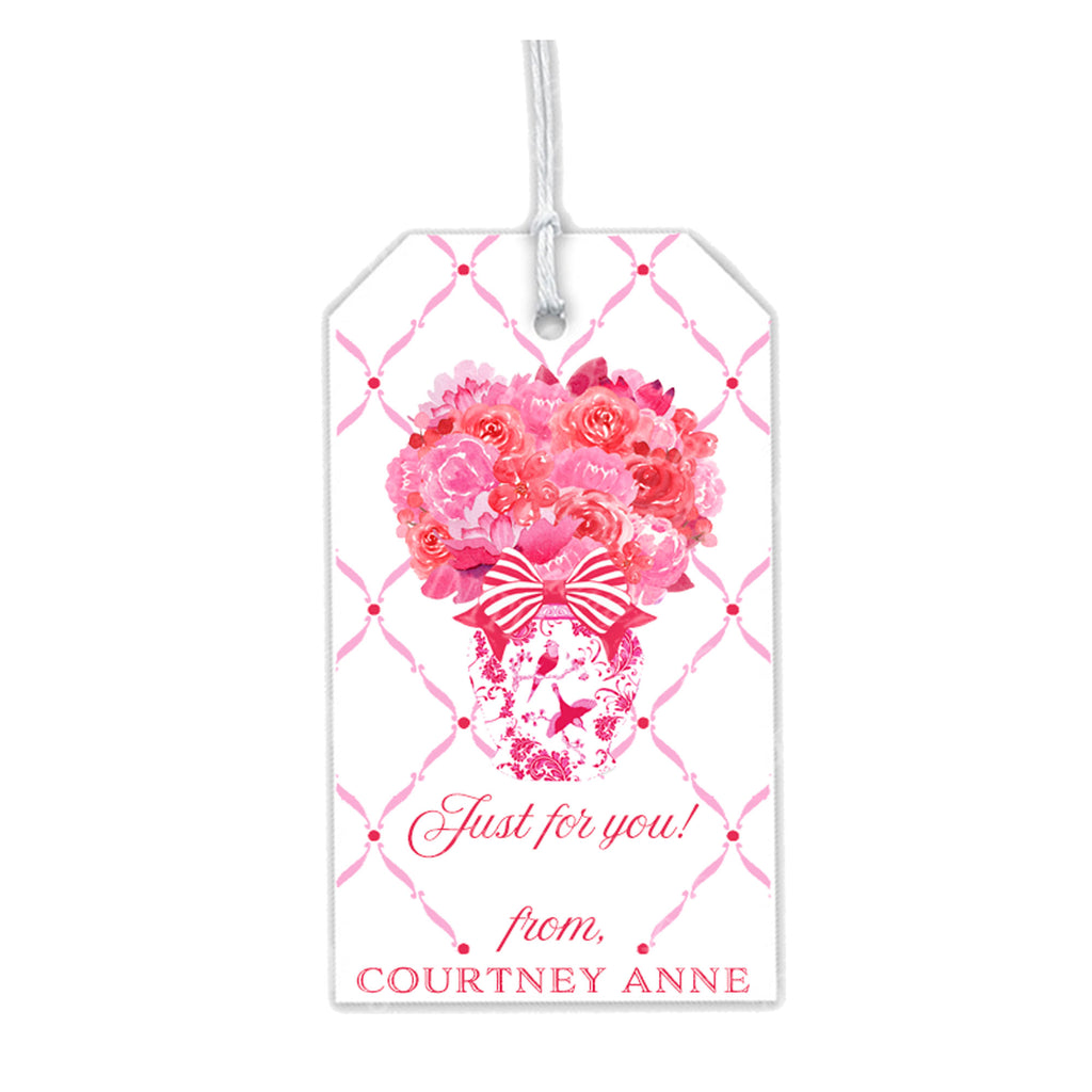 Pink and Red Bouquet Gift Tags