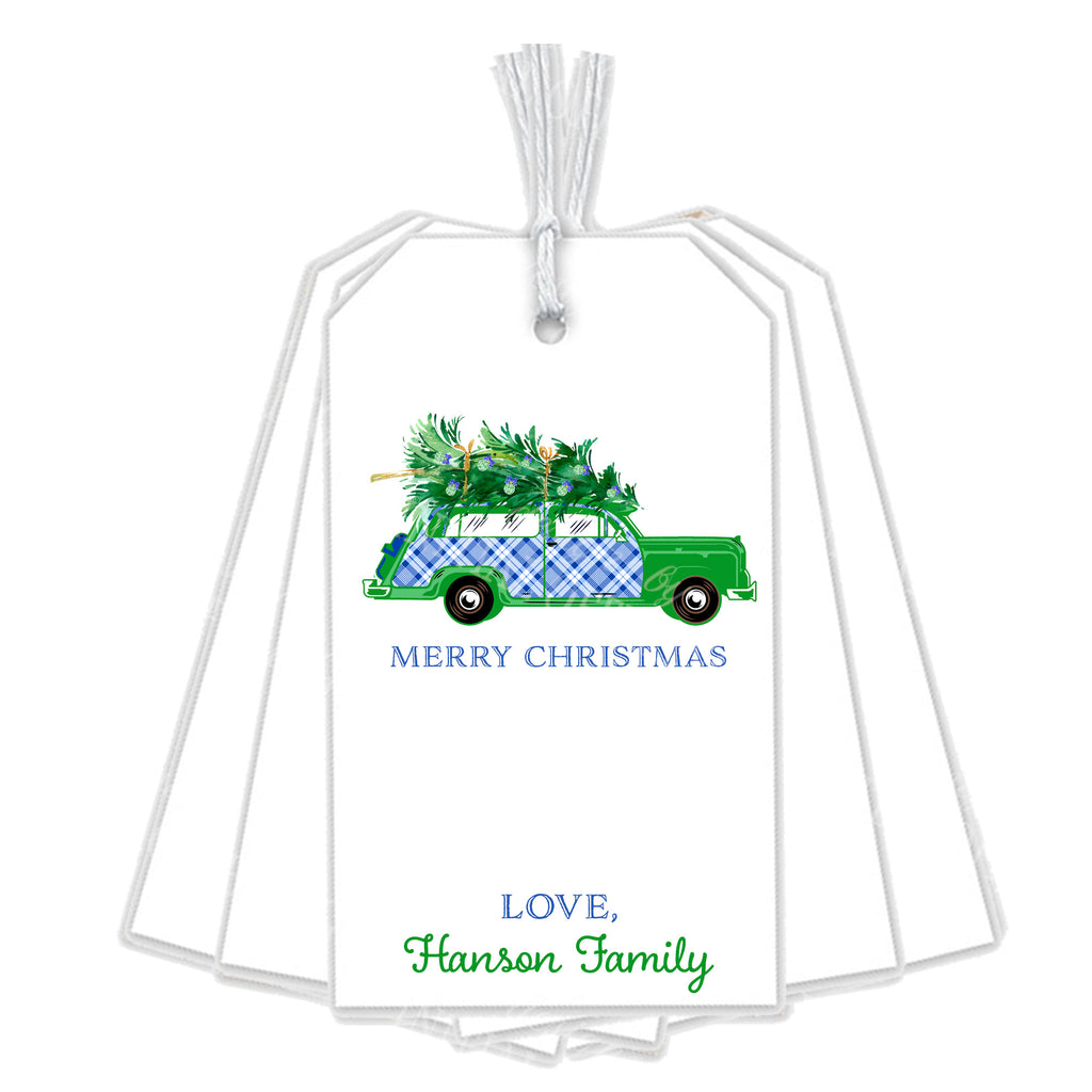 Blue and White Plaid Woody Wagon Gift Tags