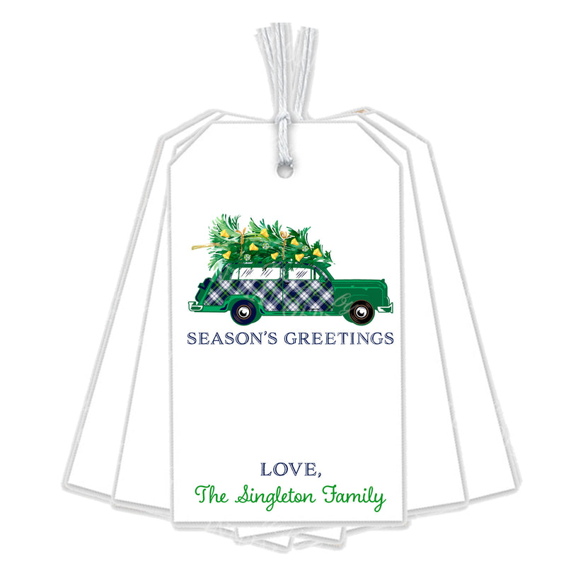 Dress Gordon Tartan Plaid Stag Head Swag Woody Wagon Gift Tags