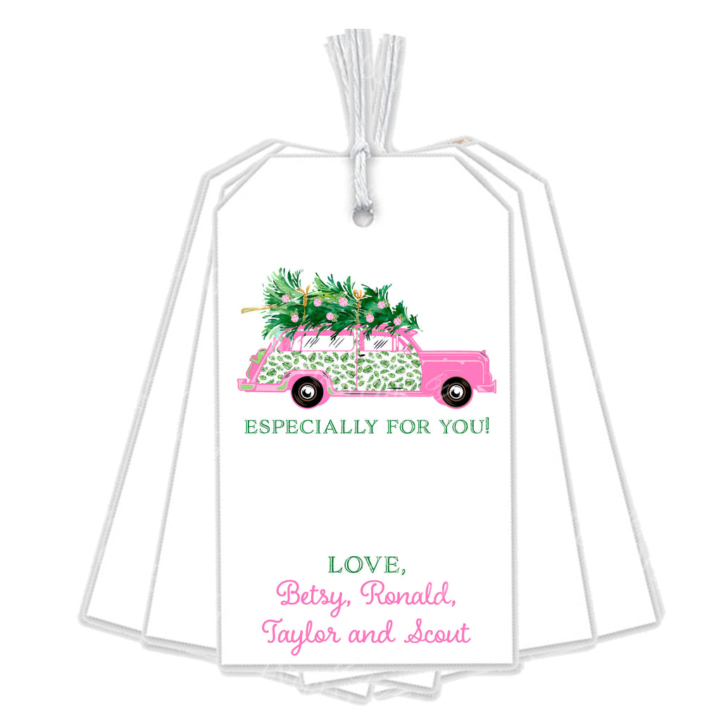 Pink and Green Palm Print Woody Wagon Gift Tags