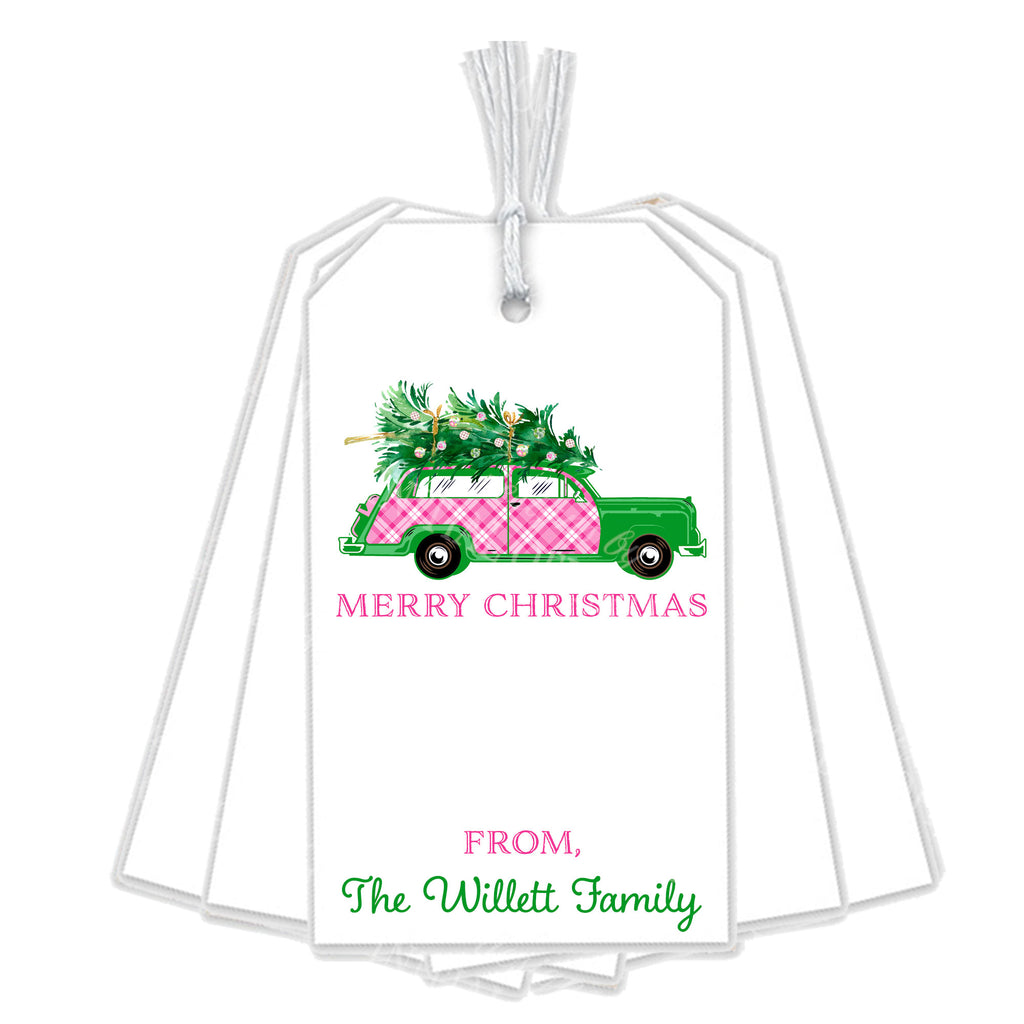 Pink and White Plaid Woody Wagon Gift Tags
