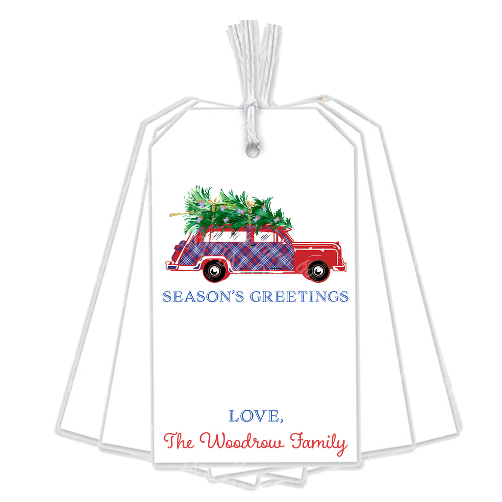 Red and Blue Plaid Woody Wagon Gift Tags