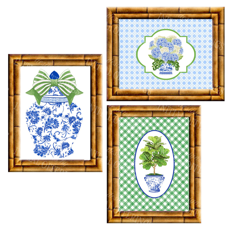 Gallery Wall Set of 3 Art Prints | Blue and Green Collection 1