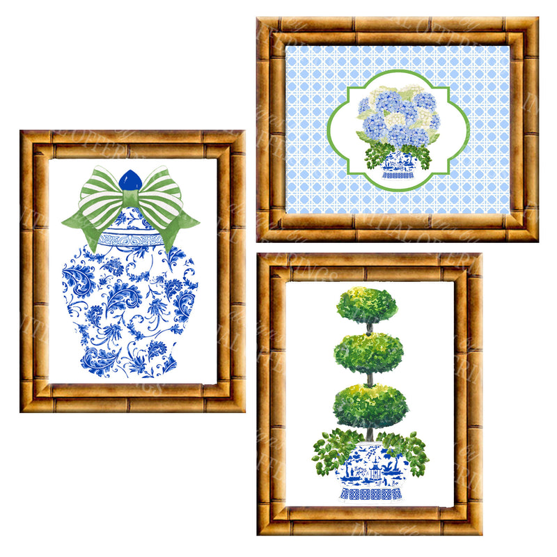 Gallery Wall Set of 3 Art Prints | Blue and Green Collection 3