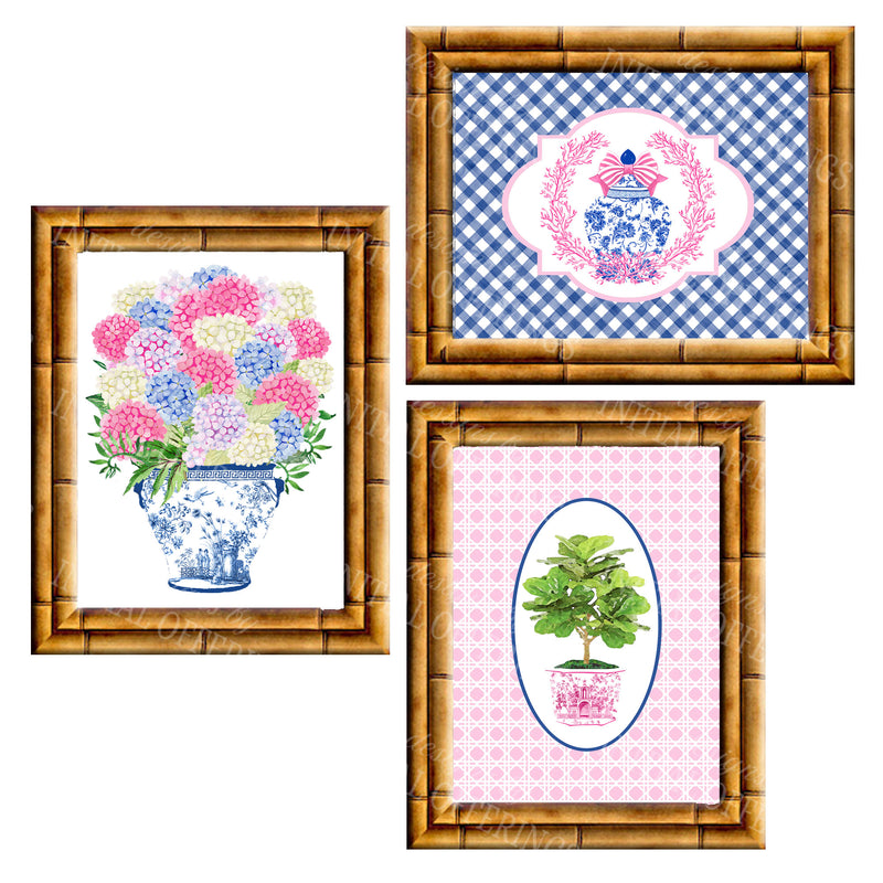 Gallery Wall Set of 3 Art Prints | Blue and Pink Collection 1
