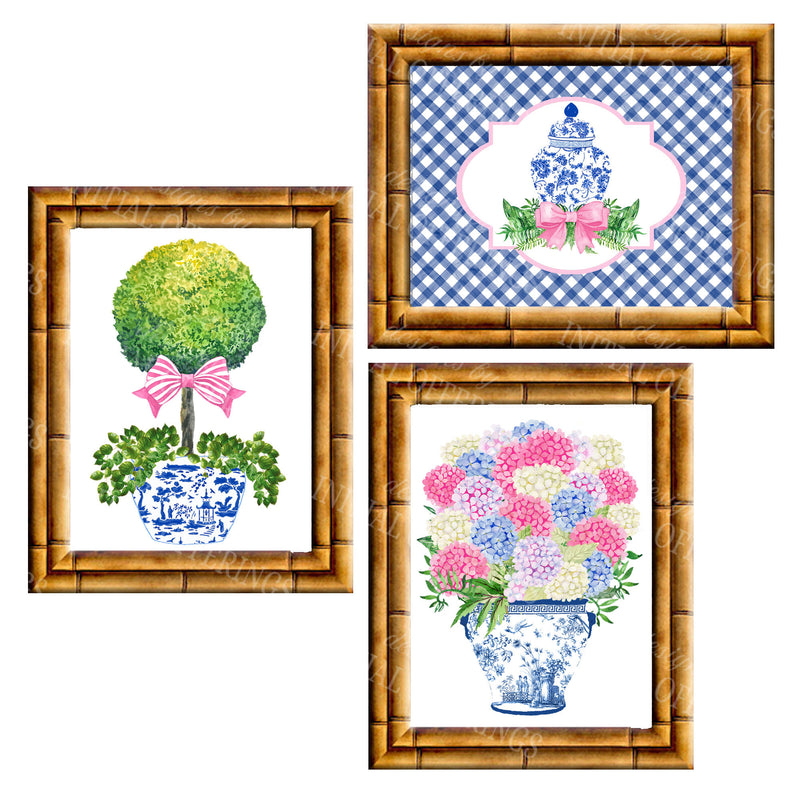 Gallery Wall Set of 3 Art Prints | Blue and Pink Collection 2