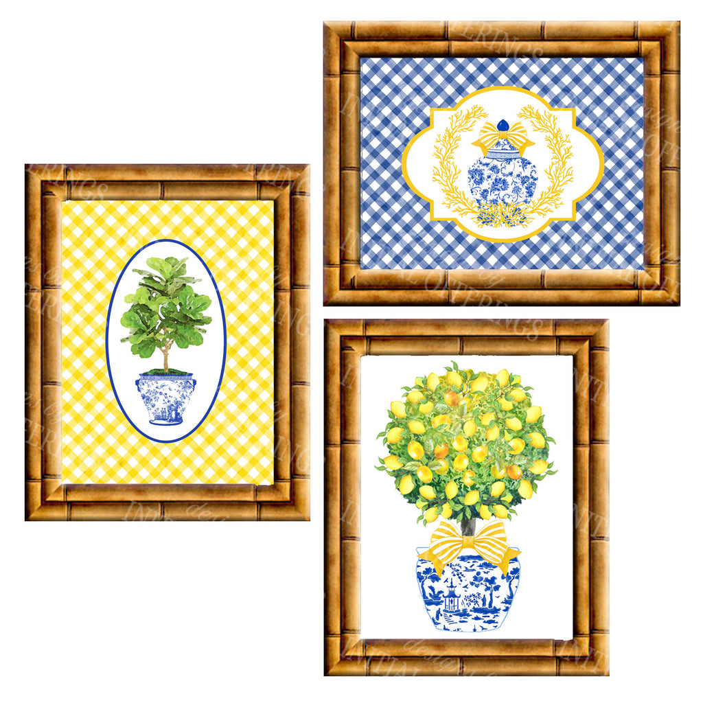 Gallery Wall Set of 3 Art Prints | Blue and Yellow Collection