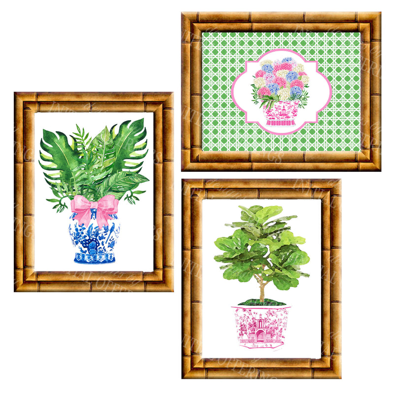 Gallery Wall Set of 3 Art Prints | Pink Green and Blue Collection 1