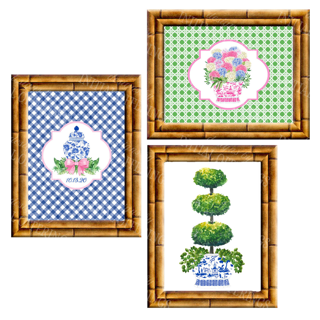 Gallery Wall Set of 3 Art Prints | Pink Green and Blue Collection 2