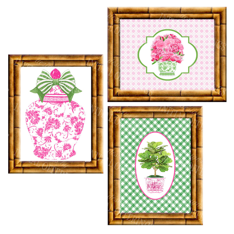 Gallery Wall Set of 3 Art Prints | Pink and Green Collection 1