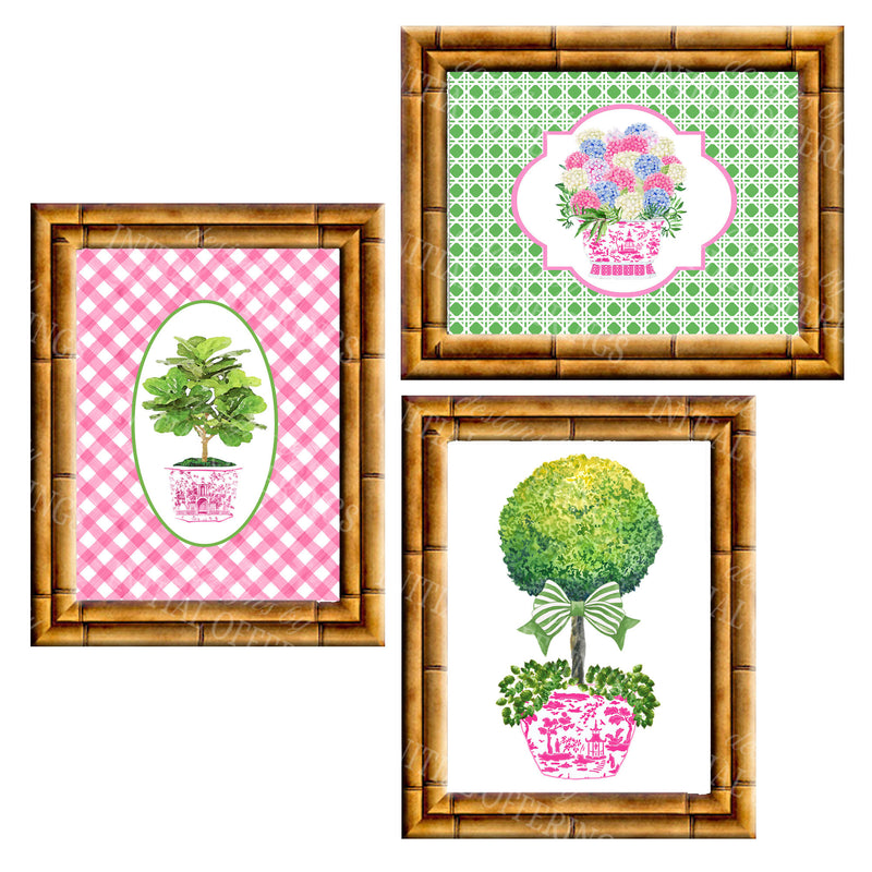 Gallery Wall Set of 3 Art Prints | Pink and Green Collection 2