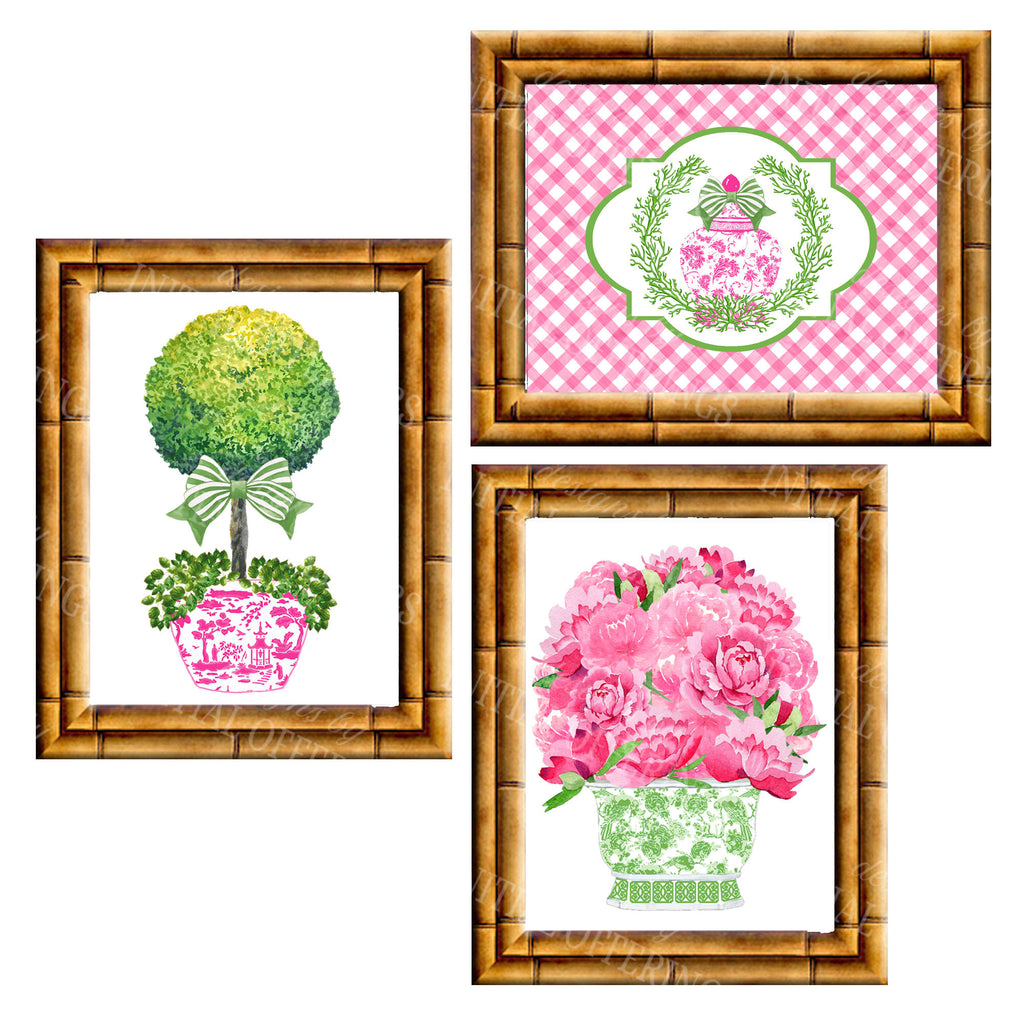 Gallery Wall Set of 3 Art Prints | Pink and Green Collection 3