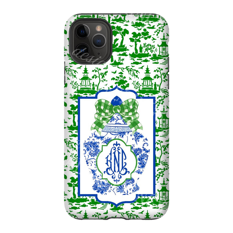 Ginger Jar with Green Toile Glossy Tough Phone Case | iPhone | Samsung | Galaxy | LGG | Google Pixel