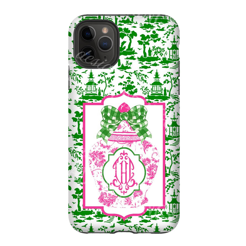 Ginger Jar Pink with Green Gingham Bow Glossy Tough Phone Case | iPhone | Samsung | Galaxy | LGG | Google Pixel