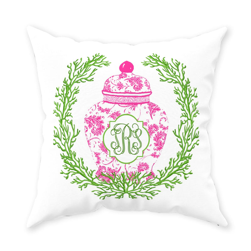 Ginger Jar Pink with Green Coral Pillow