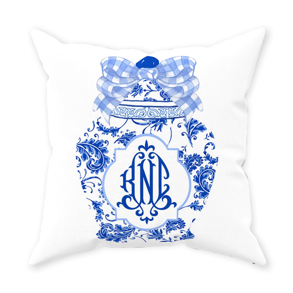 Ginger Jar Blue Gingham Bow Pillow