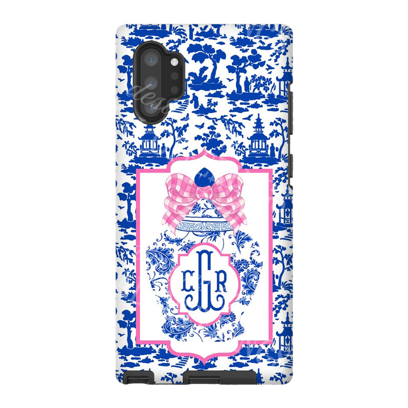 Ginger Jar with Pink Bow Blue Toile Glossy Tough Phone Case | iPhone | Samsung | Galaxy | LGG | Google Pixel
