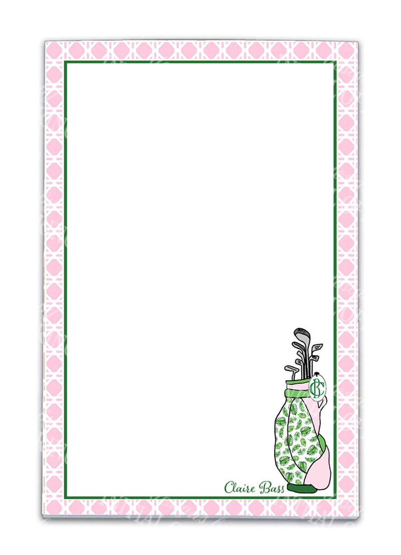 Golf Bag in Pink and Green Notepad
